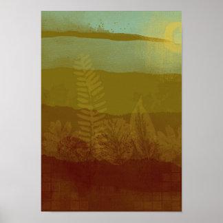 Impressão abstrato das canvas da paisagem
