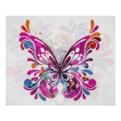 Impressão abstrato decorativo da borboleta