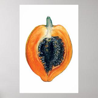 Impressão alaranjado da fruta botânica da PAPAIA