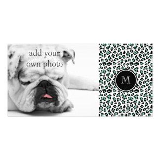 Impressão animal do leopardo preto verde da hortel cartões com fotos