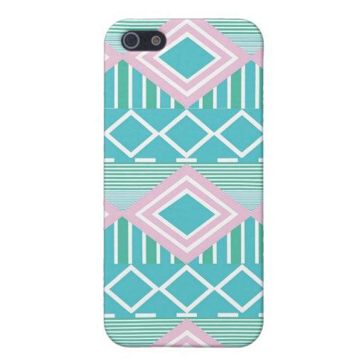 Impressão asteca azul verde roxo capas iPhone 5