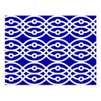 Impressão, azuis cobaltos e branco do quimono cartão postal