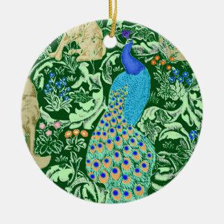 Impressão, azuis cobaltos & verde do pavão de ornamento de cerâmica redondo