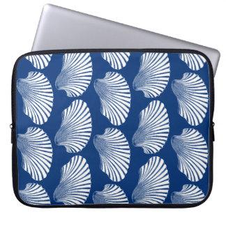 Impressão, azuis marinhos e branco de bloco de bolsa e capa para computadore