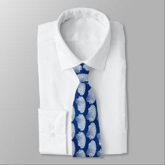 Impressão, azuis marinhos e branco de bloco de gravata