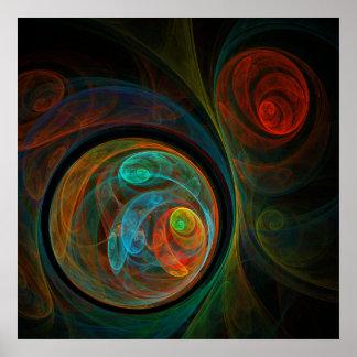 Impressão azul da arte abstracta do renascimento
