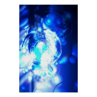 Impressão azul do poster da arte abstracta de Digi