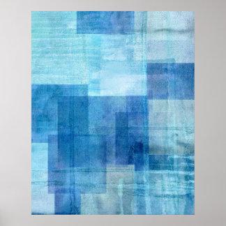 Impressão azul do poster da arte abstracta do