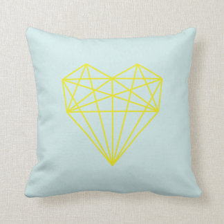 impressão/azul e amarelo geométricos do coração do travesseiros