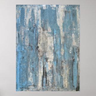 Impressão azul e cinzento do poster da arte