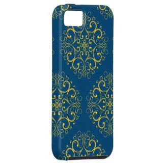 impressão azul escuro do ornamento floral iphone5 capa para iPhone 5