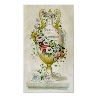 Impressão botânico do vintage - poesia das flores