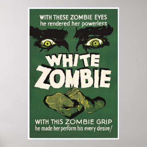 Impressão branco do cartaz cinematográfico do vint