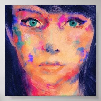 Impressão colorido das belas artes da menina