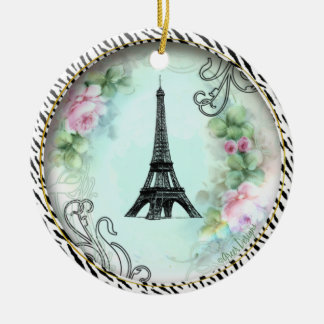 Impressão cor-de-rosa da zebra dos rosas da torre ornamento de cerâmica redondo