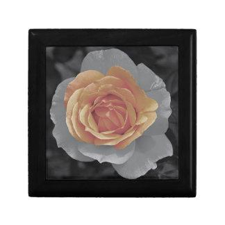 Impressão cor-de-rosa das flores da laranja estojo para jóias
