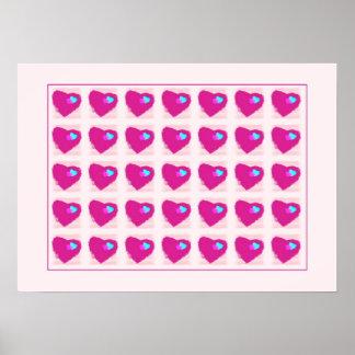 Impressão cor-de-rosa dos corações