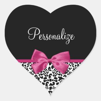 Impressão cor-de-rosa escuro Vivacious do leopardo Adesivo Coração
