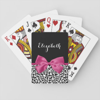 Impressão cor-de-rosa escuro Vivacious do leopardo Cartas De Baralho