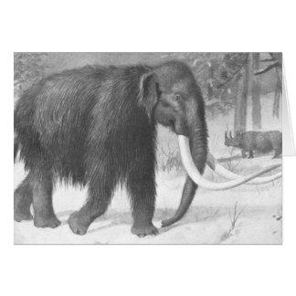 Impressão da antiguidade do Mammoth Woolly Cartao