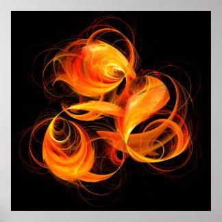 Impressão da arte abstracta da bola de fogo