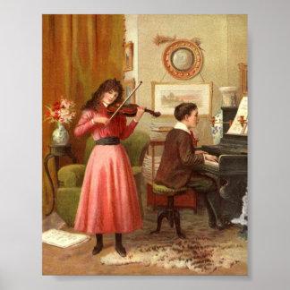 Impressão da arte da senhora Homem Jogo Violino Pi