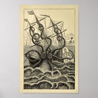 Impressão da arte do navio do polvo do vintage