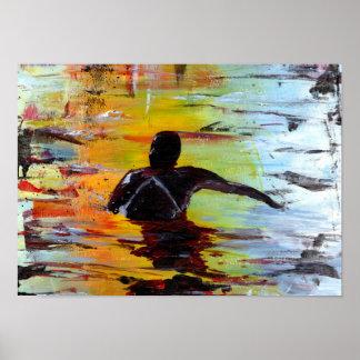 Impressão da arte do surfista do por do sol