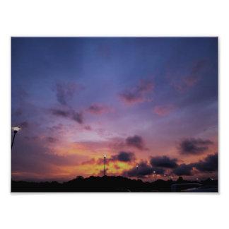 Impressão da foto das belas artes do por do sol de impressão de foto