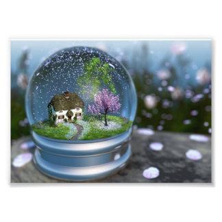 Impressão da foto do globo da flor de cerejeira