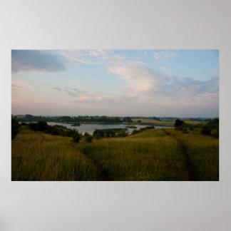 Impressão da fotografia da paisagem do lago