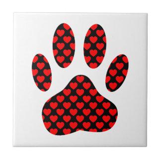 Impressão da pata do cão com corações azulejo quadrado pequeno