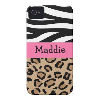 Impressão da zebra e do leopardo personalizado com capa para iPhone 4 Case-Mate