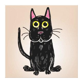Impressão das canvas da ilustração do gato preto impressão de canvas esticada