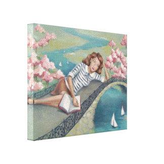 Impressão das canvas da menina do amante de livro