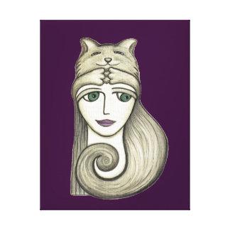Impressão das canvas da menina do gato