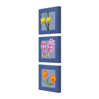 Impressão das canvas - Triptych botânico no azul