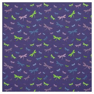 Impressão das libélulas - azul, verde, e roxo tecido