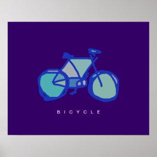 impressão decorativo da bicicleta azul