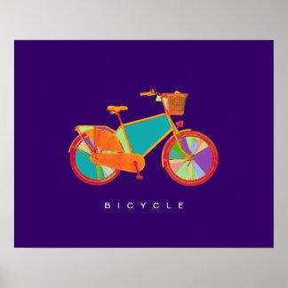 impressão decorativo da bicicleta colorida