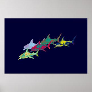 impressão decorativo dos tubarões