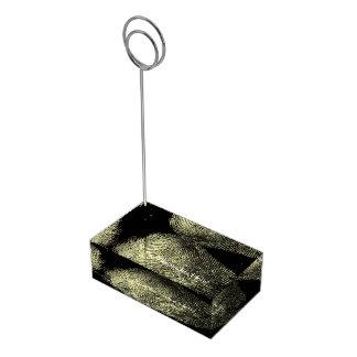 Impressão digital invertida do laço suportes para cartões de mesas