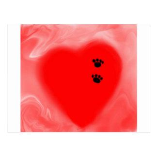 Impressão do cão em meu coração cartão postal