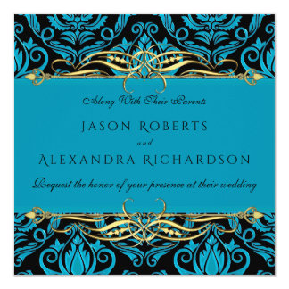 Impressão do damasco do azul de turquesa no preto convite quadrado 13.35 x 13.35cm