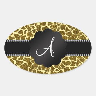 Impressão do girafa do brilho do monograma adesivos em formato oval