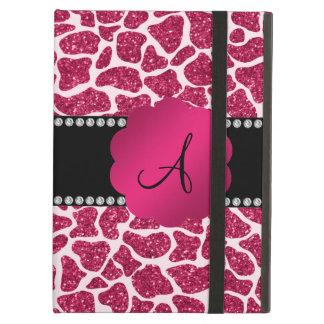 Impressão do girafa do brilho do rosa do monograma