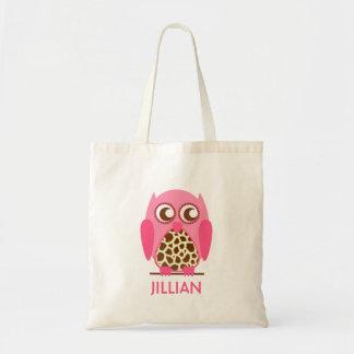 Impressão do girafa & saco personalizado rosa sacola tote budget