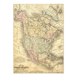 Impressão do mapa do vintage de America do Norte Convite 11.30 X 15.87cm