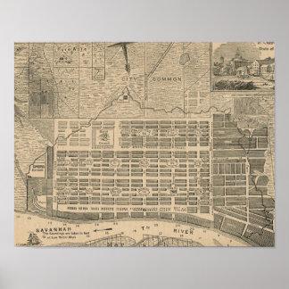 Impressão do mapa histórico de Geórgia do savana