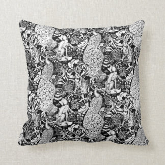 Impressão do pavão de Nouveau da arte, preto e Almofada